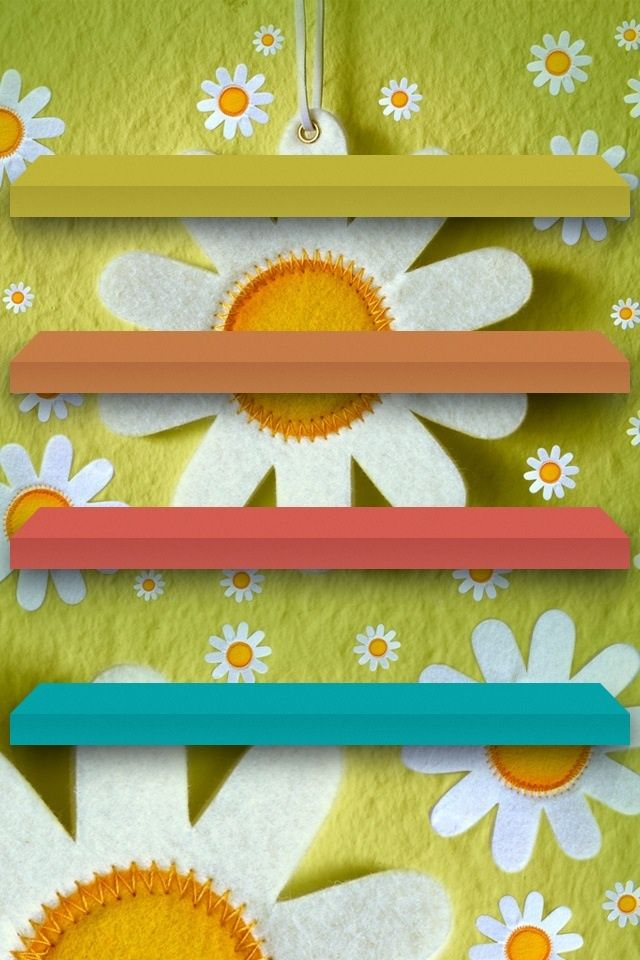 Flowery Spring Home Screen Wallpaper For Iphone With Shelves For