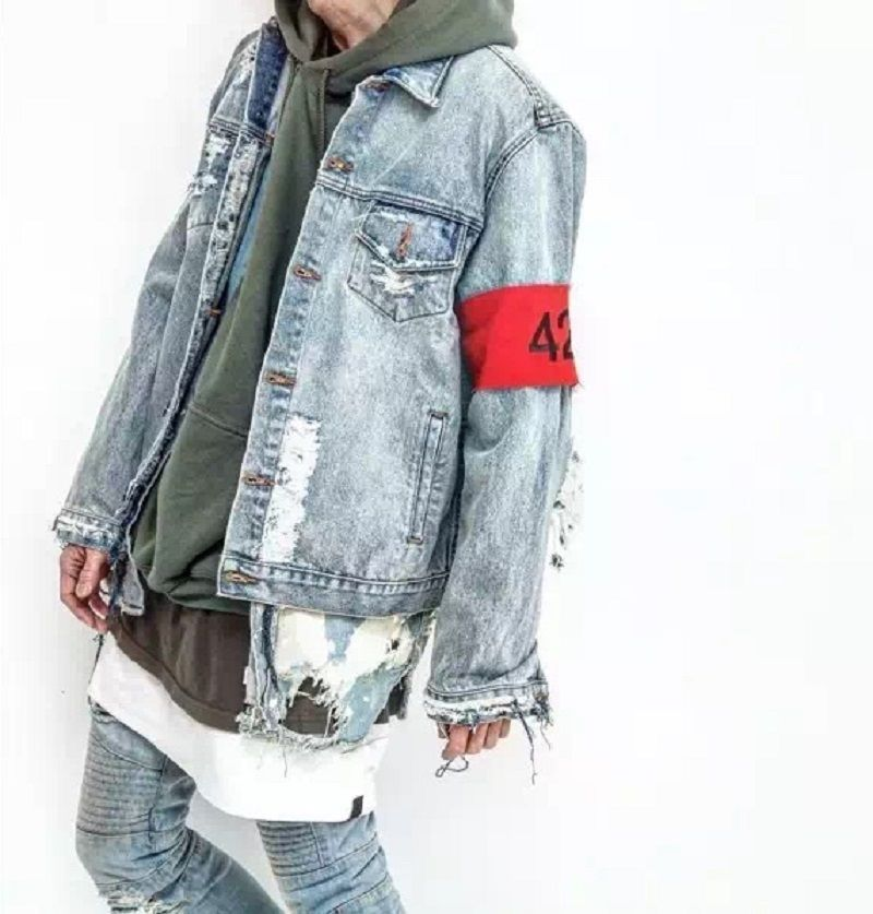 b581d6bb4c4 hiphop men s clothes brand clothing fear of god Four Two Four 424 spring  summer broken hole jeans designer ripped denim jacket