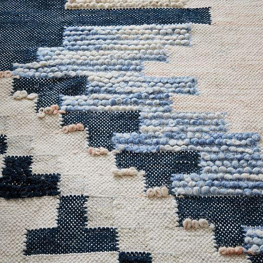 Checkerboard Diamond Wool Dhurrie Midnight West Elm