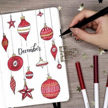 Ornaments December BuJo Cover. If you need bullet journal ideas for December, you should check these Christmas bullet journal ideas to inspire your next monthly spread. These are the best bullet journal Christmas ideas to stay organized even on the holidays. Simple, Beautiful and Easy Bullet Journal Weekly Spreads/Layouts you need to try right now. You'll find all kinds of collection pages include Christmas bucket list, Christmas bullet journal doodles.