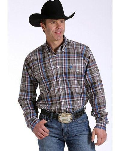 5dc8981afd3 Cinch® Men s L S Brown Blue Plaid Button Shirt