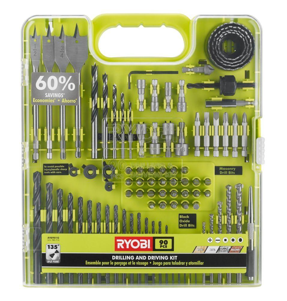 90pc drill and drive kit ryobi drill ryobi drill bits
