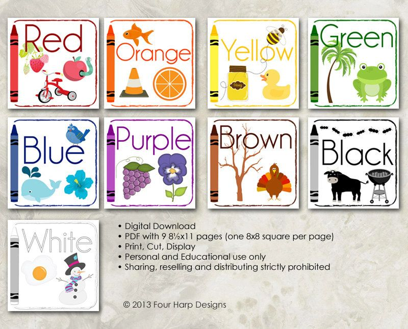 Color Wall Cards - DIY Printable for preschool, early elementary ...