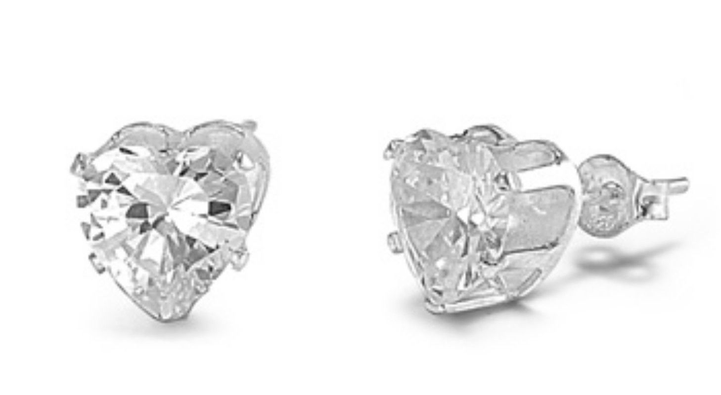 7ef9bea79 4mm 5mm 6mm 7mm 8mm Clear Diamond Heart Shaped CZ Solid 925 Sterling Silver Stud  Earring Clear April Birthstone Gift