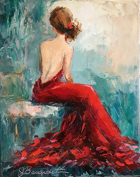 print of an original oil painting woman in red dress palette knife