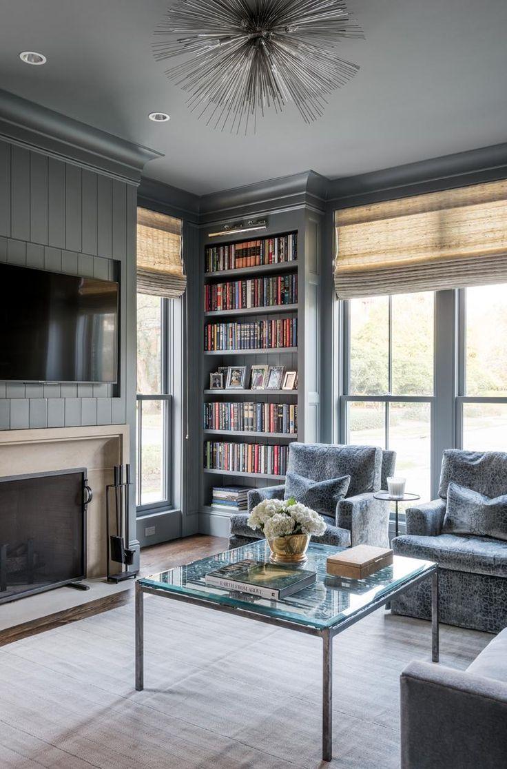 Grey Shiplap Walls Tv Mounted Above Fireplace Glass