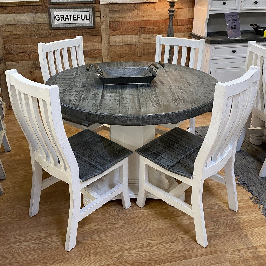Slate Round Dining Set   Farmhouse kitchen table sets, Grey dining ...
