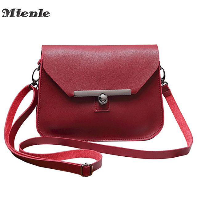 MTENLE Small Women Messenger Bag Simple Designer PU Leather Crossbody Bag  Ladies Hasp Lock Flap Female f6769fdaa2b79