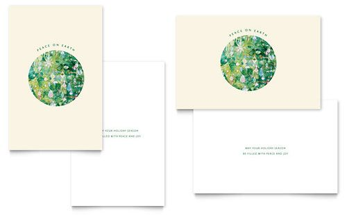 Peace On Earth Greeting Card - Word Template \ Publisher Template - christmas card word template