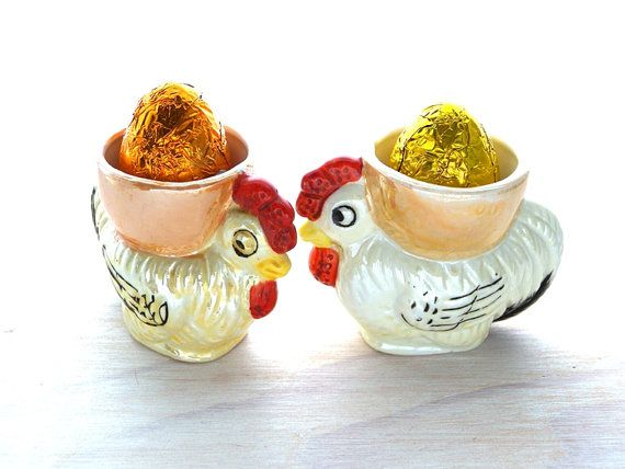 Vintage Ceramic Egg Cups Little Chickens by PaperParticles on Etsy, $32.00