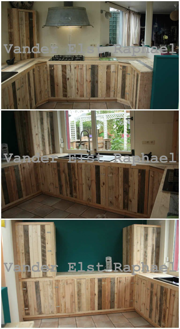 Kitchen Makeover With Recycled Pallets 1001 Pallets Pallet Kitchen Cabinets Pallet House Recycled Pallets