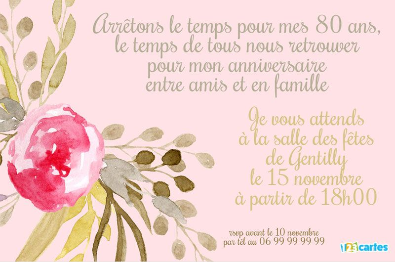 invitation anniversaire 80 ans fleur