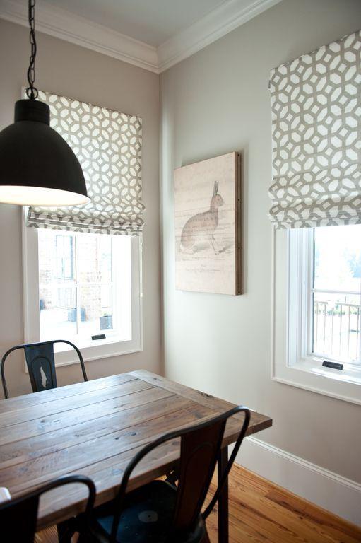 flat roman shade window treatment | grey geometric fabric