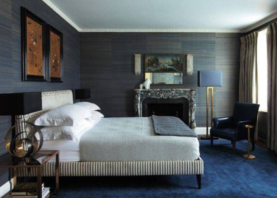 This dark Phillip Jeffries grasscloth wallcovering is perfect for ...