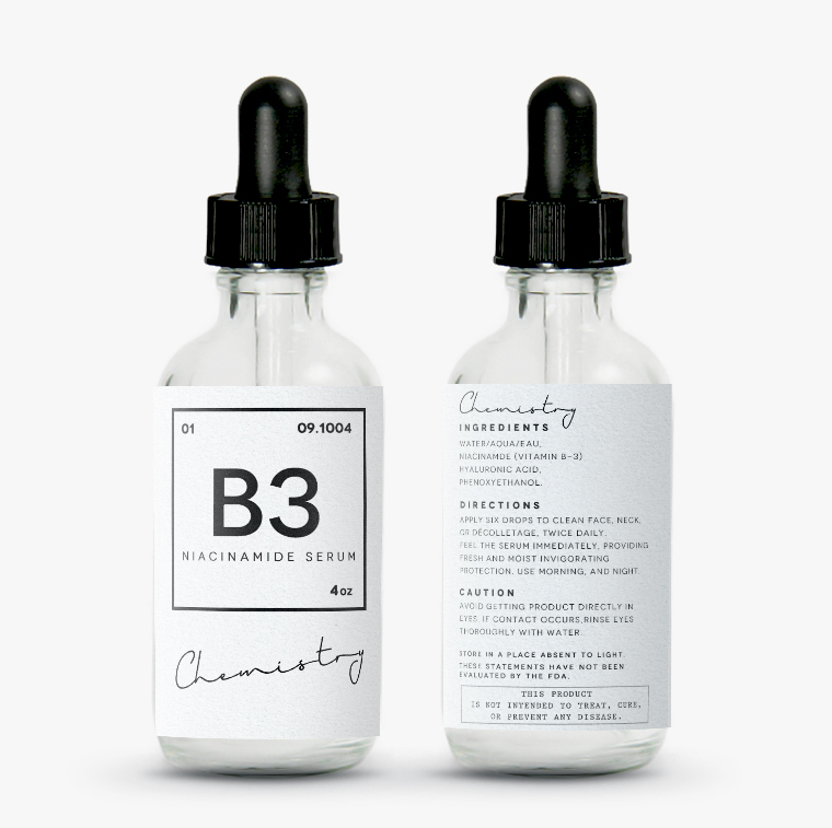 Chemistry inspired beauty label Cosmetic packaging