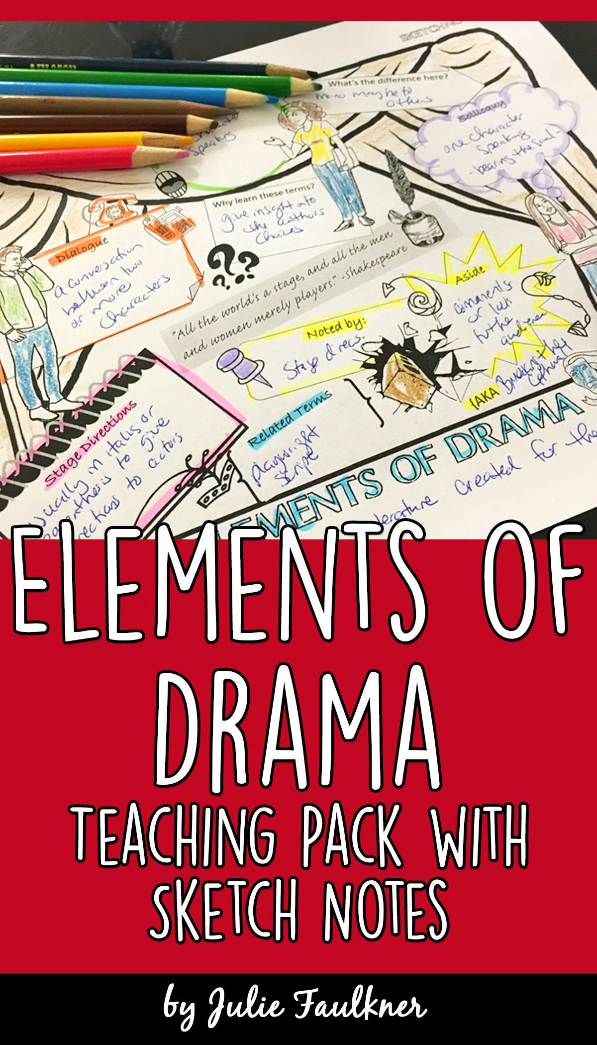 Elements Of Drama Complete Teaching Pack Task Cards Quiz