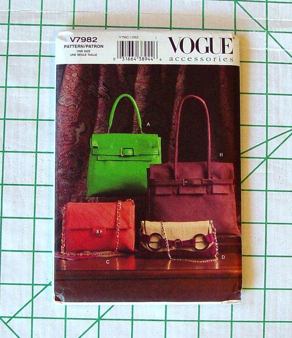 e1e370c1902 Vogue 7982 Rare Sewing Pattern v7982 Hermes Style Birkin Kelly Purses  Handbags Clutch Hand Bag Shoulder Handle Strap Accessories UNCUT