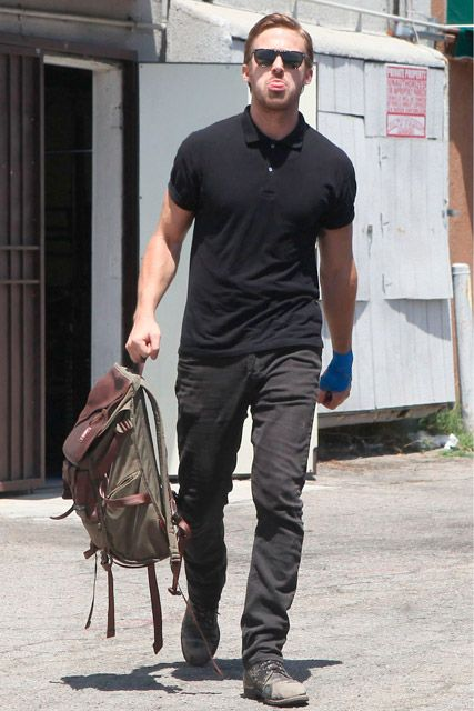 Ryan Gosling carrying the JanSport Pleasanton backpack! View the entire  collection at http   95c759e623279