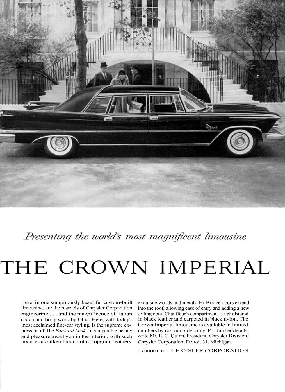 1958 Chrysler Crown Imperial ad | THE MIGHTY CHRYSLER! | Pinterest ...