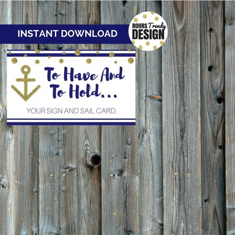 Instant Download Sail And Sign Key Card Wedding Favor Cruise Ship