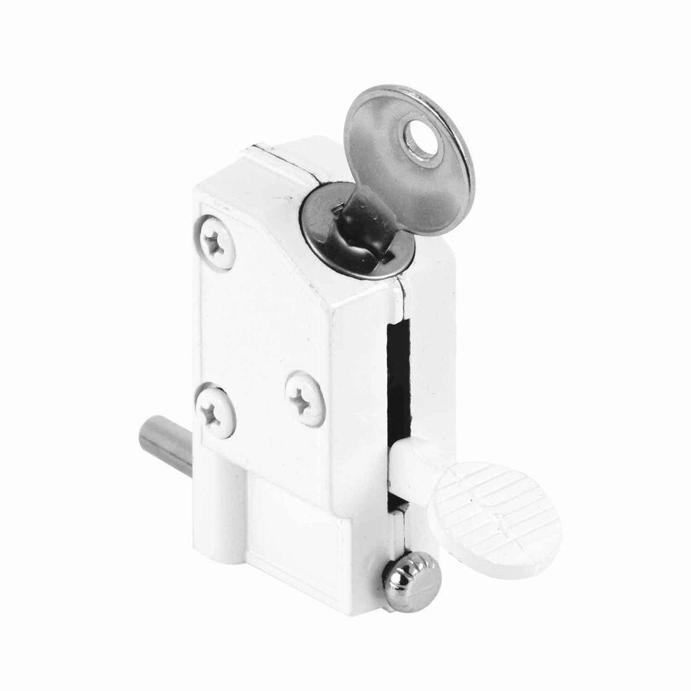 White Keyed Step On Sliding Door Lock Defender Security Doors And