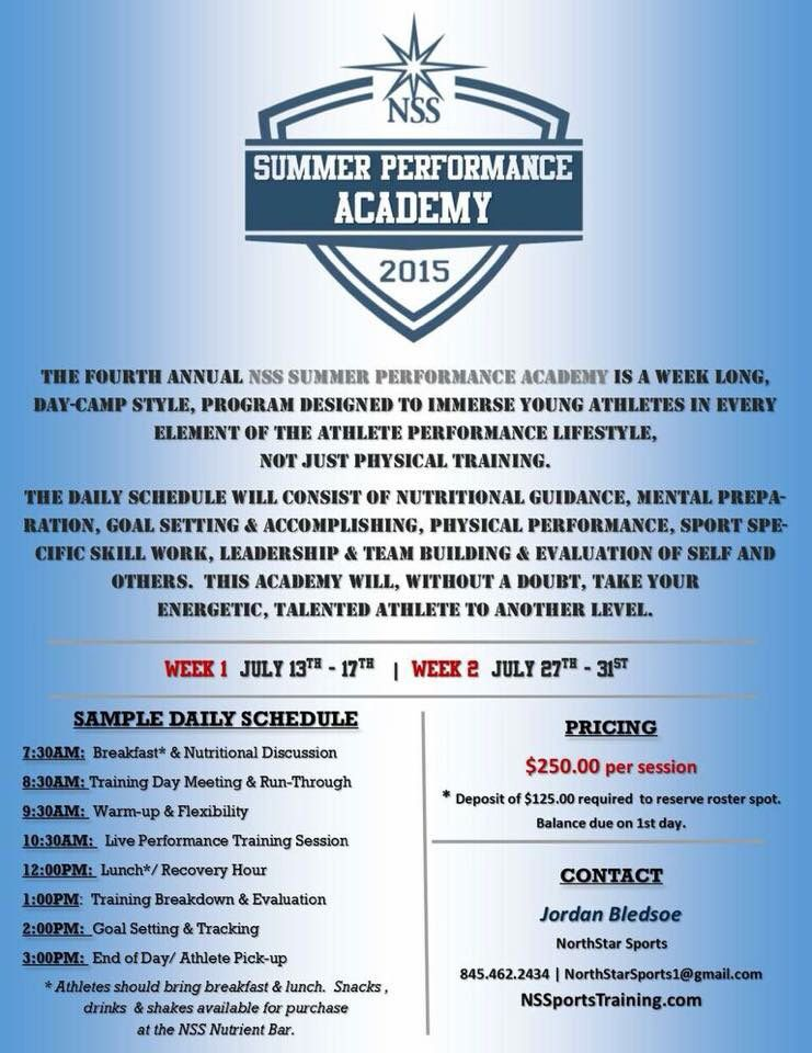 Summer Performance Academy 2015 Program design, Day camp