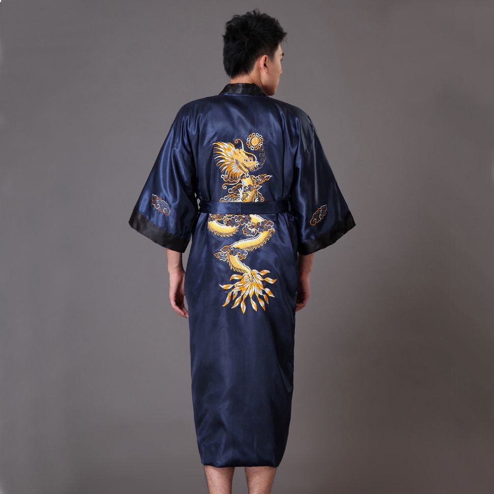 Gold Black Chinese Men's Reversible Nightwear Traditional Embroidery Bath  Robe Gown Free Shipping One Size