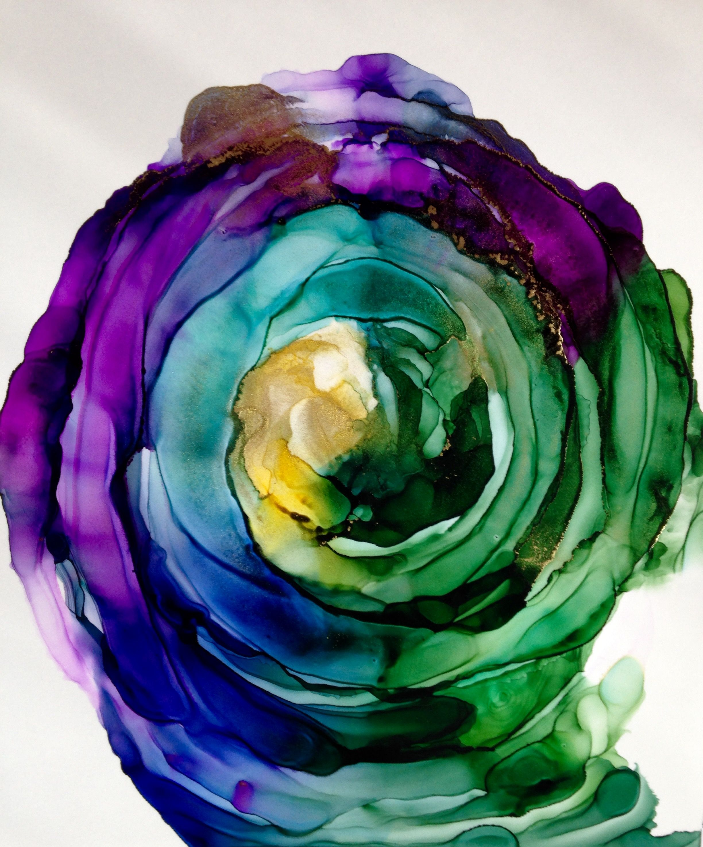 Controlled Spiral abstract alcohol ink painting by Linda ...