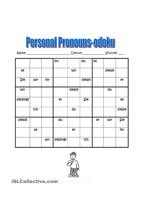 Personalpronomen Sudoku | Deutsch, Sprachen und Grammatik