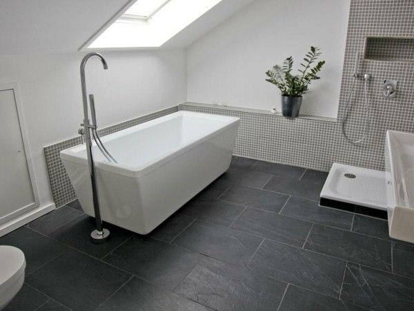 Black Slate Tile Shower - Flooring