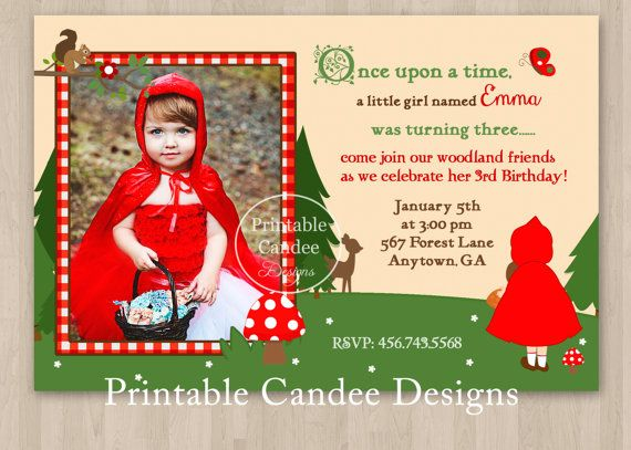 Red Riding Hood Inspired Woodland Birthday by printablecandee, $10.00