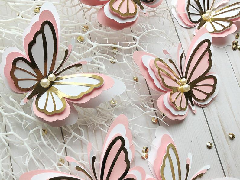 3d Paper Butterfly 3d Gold Paper Butterflies Pink Paper Etsy Butterfly Cutout Paper Butterflies Paper Butterfly