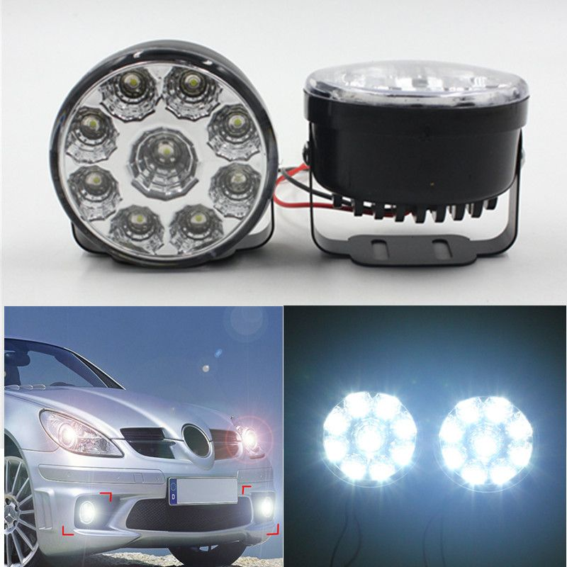 High Quality 9led Round Daytime Running Light Drl With Automatic Switch Car Auto Circular 9 Smd Led Drl Day Driving Light Car Lights Running Lights Car