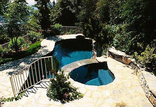 Pools on a hillside google search 3069 yard garden for Pool design hillside