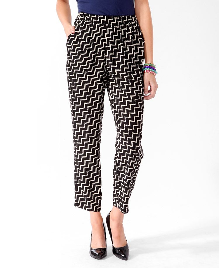 Cropped Chevron Striped Pants | FOREVER21 - 2016313124