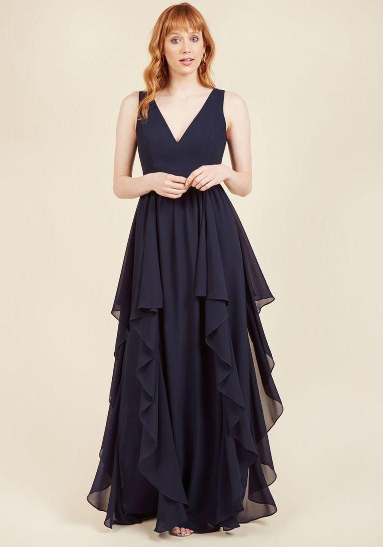 Adorewe modcloth as ruffles ripple maxi dress in navy in x