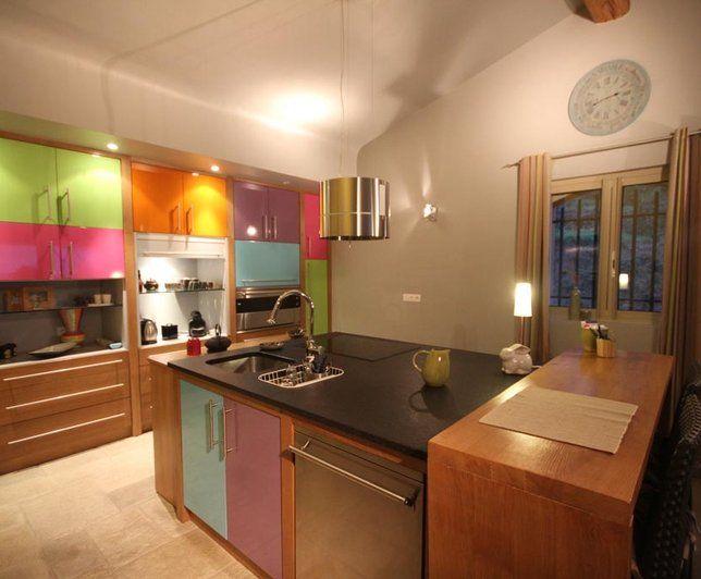 Photo deco cuisine marron contemporain maison de famille color e contemporaine colourful - Cuisine maison de famille ...