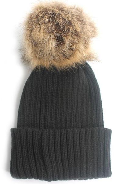 91d1f32ca95 Large Fur Pom Pom Slouchie Knit Beanie Hat - Black Tan - Dempsey   Gazelle