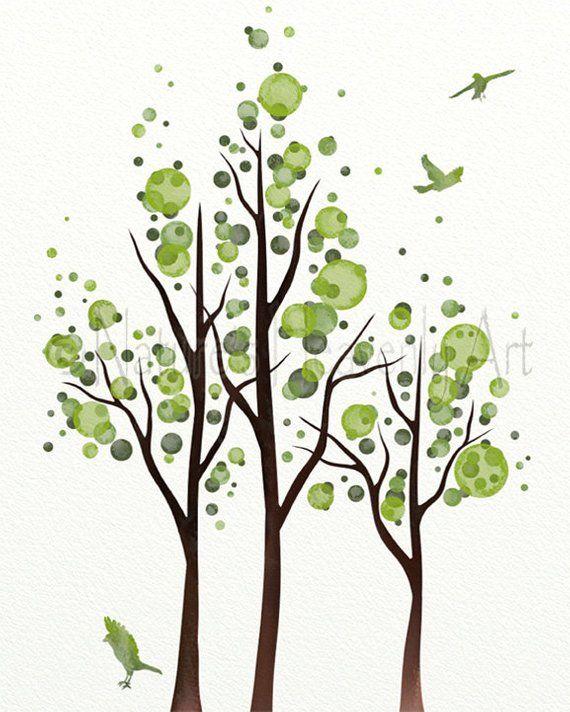 Green Tree Artwork For Bedroom Decor, Tree Wall Art Print