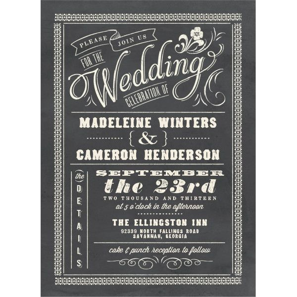 Chalkboard Charm Wedding Invitations By Elli Featuring A Mix Of Stylish Type And An Ornate Border Against Background
