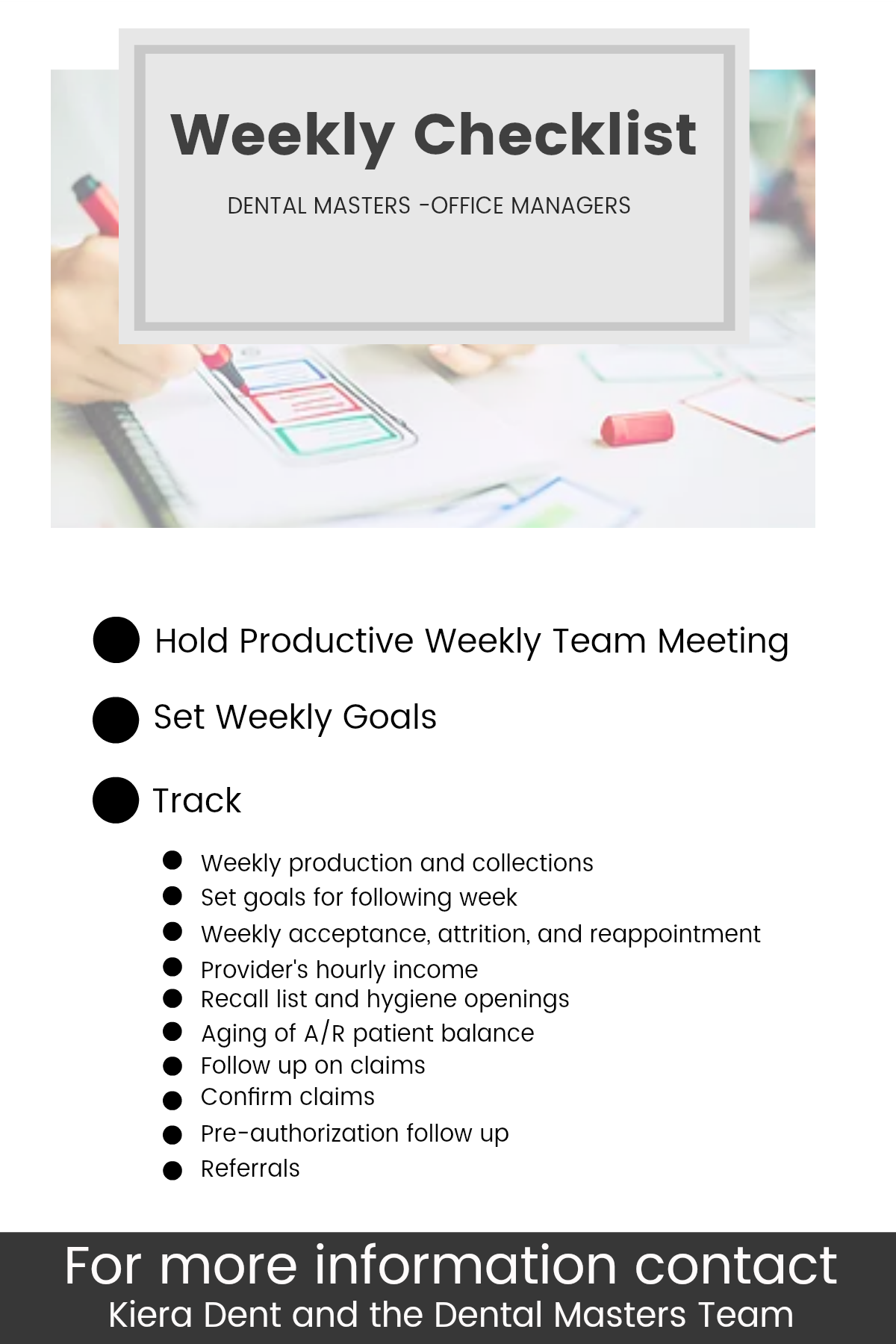 Office Managers Weekly Checklist Dentistry