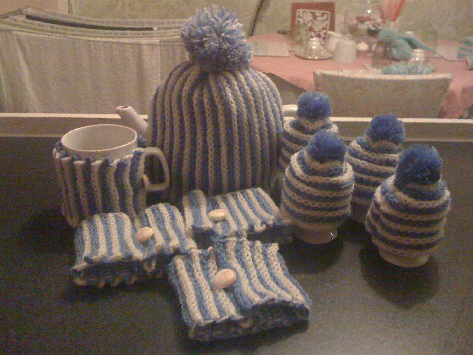 blue and white tea egg and cup cosy machine knitted
