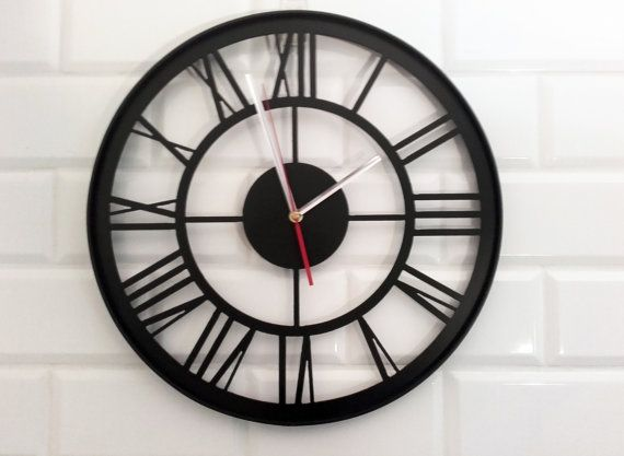 40 cm/ 158 industrial metal wall clock with border by