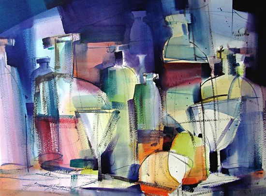 Top Shelf By Sterling Edwards Watercolor 22 X 30 Abstract Abstract Watercolor Art Show