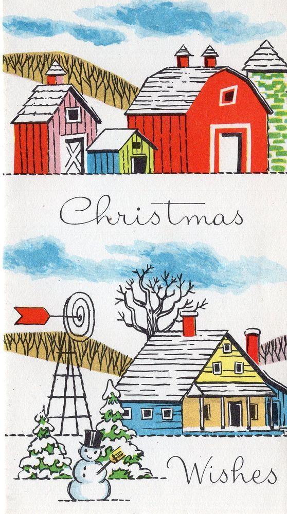 UNUSED Vintage Christmas Card: Mid-Century Farm scene with Snowman ...