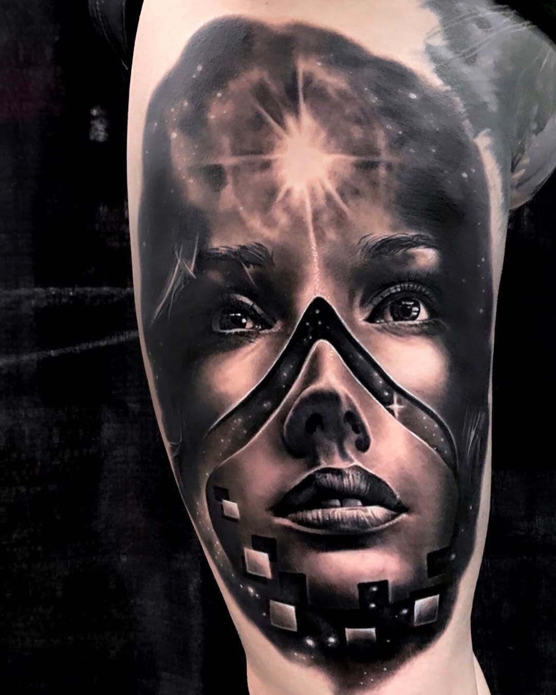 Galaxy woman portrait tattoo cool tattoos different