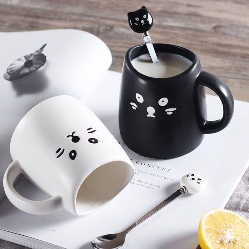 Творческий Черный и белый чашки милый кот Кофе Кружки ...
