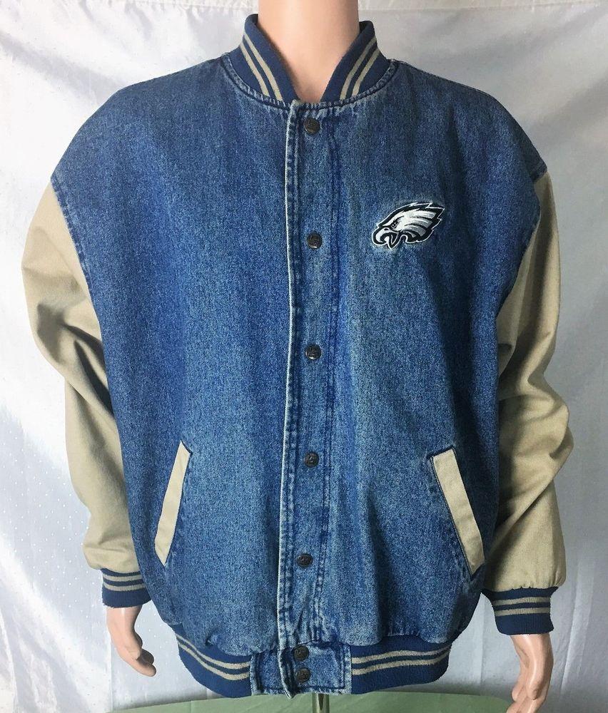 Vintage Philadelphia Eagles Denim Varsity Jacket Lined Tan Sleeves Blue Body Xlp Lee Philadelphiaeagles Varsity Jacket Jackets Denim