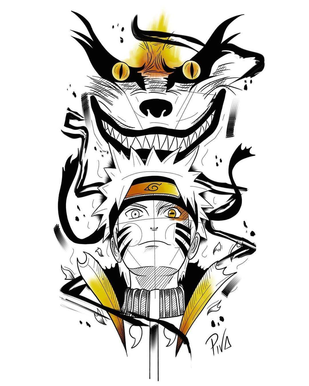 """Naruto Tattoo Design : naruto, tattoo, design, GEEKY, FLASH, Instagram:, """"Naruto, Tattoo, Design, @brenopiva, Submit, #geekyflash, Do…, Naruto, Tattoo,, Sketch,, Uzumaki"""