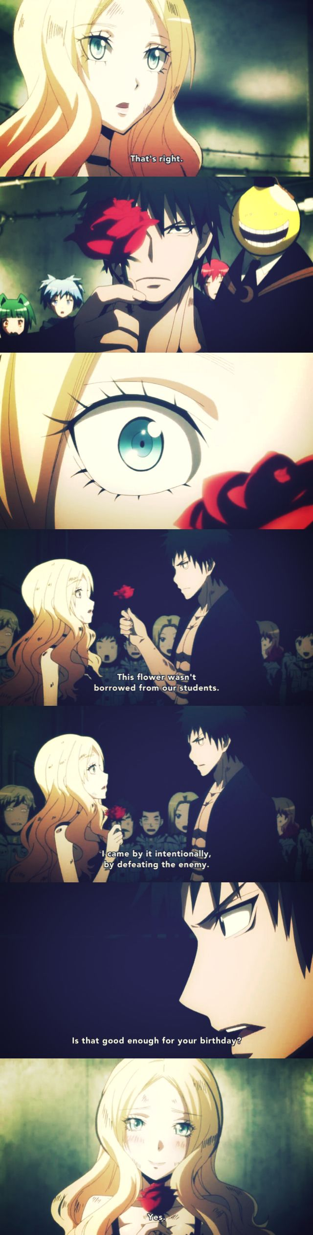 Karasuma x irina♥ why is karasuma still a poker face when he gives the rose to irina???look irina was sooo happy